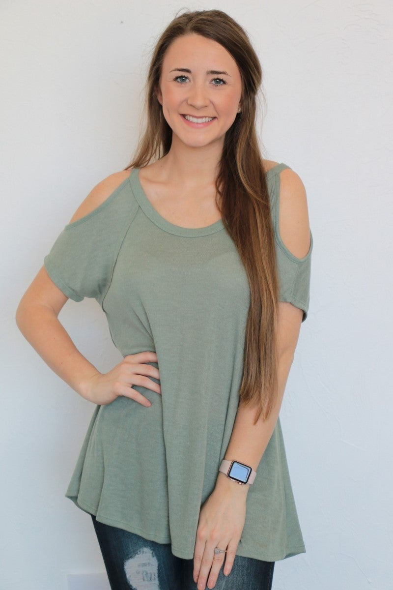 Don't Lose Your Halo Cold Shoulder Top In Sage - Sizes 4-10
