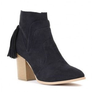 Stars Are Shining Black Booties With Tassel Detail- Sizes 6-10