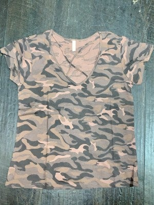 It's My Lucky Day Short Sleeve Top with Criss Cross V-Neck in Brown Camo