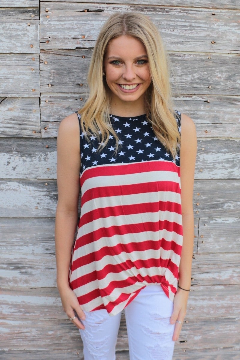 Born In The USA Sleeveless Top - Sizes 4-20
