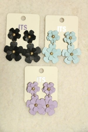Anyway The Wind Blows Double Leather Flower Drop Earring In Multiple Colors