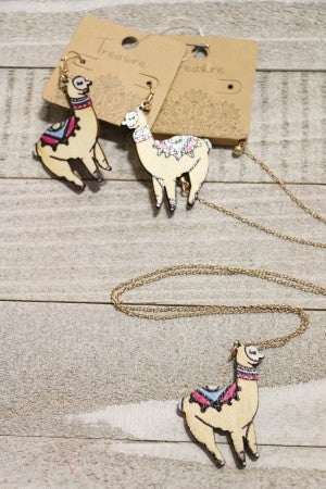 Pretty Little Llama Wooden Llama Necklace and Earring Bundle