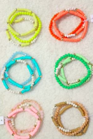 Summer Fun 3 Strand Stretch Bracelet With Crystal Beads and Rubber Discs In Multiple Colors