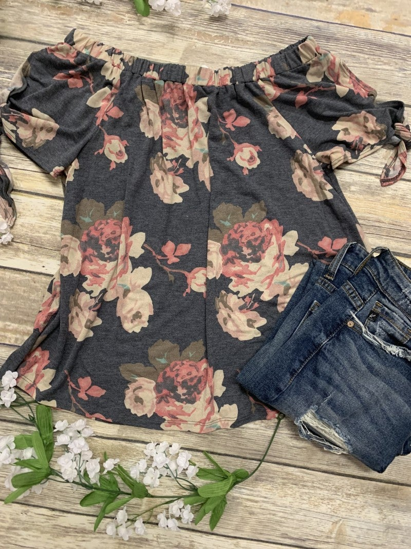Sing Sweet Praises Off The Shoulder Floral Top With Tie Sleeves - Sizes 4-10- Multiple Colors