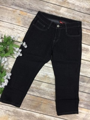 The Lorae Straight Leg Capri Jean in Dark Denim - Sizes 1-15