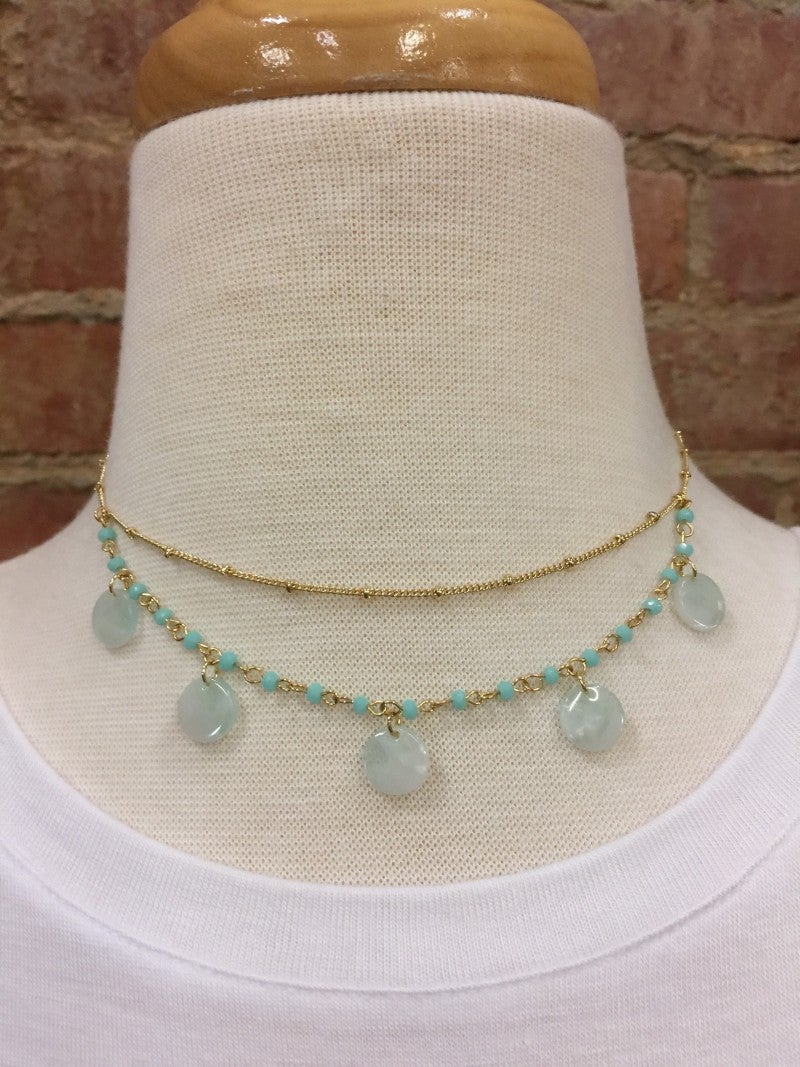 Cutest Layered Necklace with Baby Blue Charms