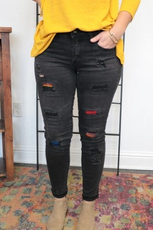 No Regrets Faded Black Denim Jeans With Serape Patches - Sizes 4-14