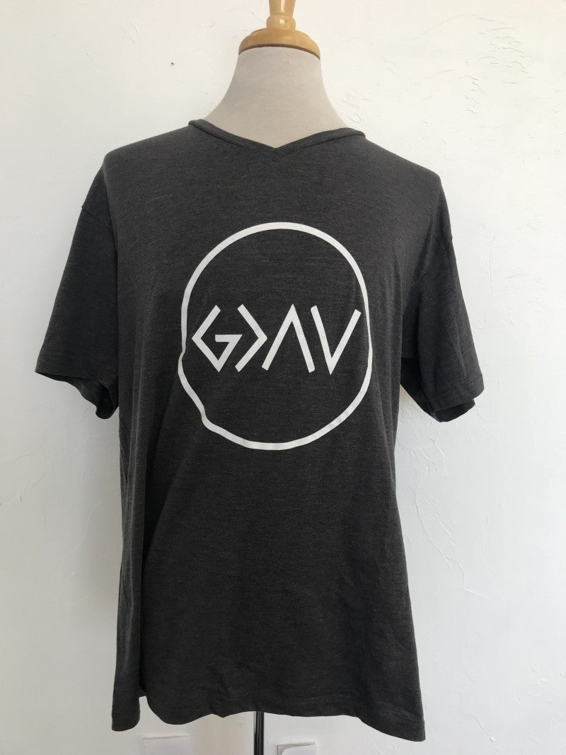 God Is Greater Than The Ups & Downs Graphic Tee in Charcoal ~ Sizes 12-18