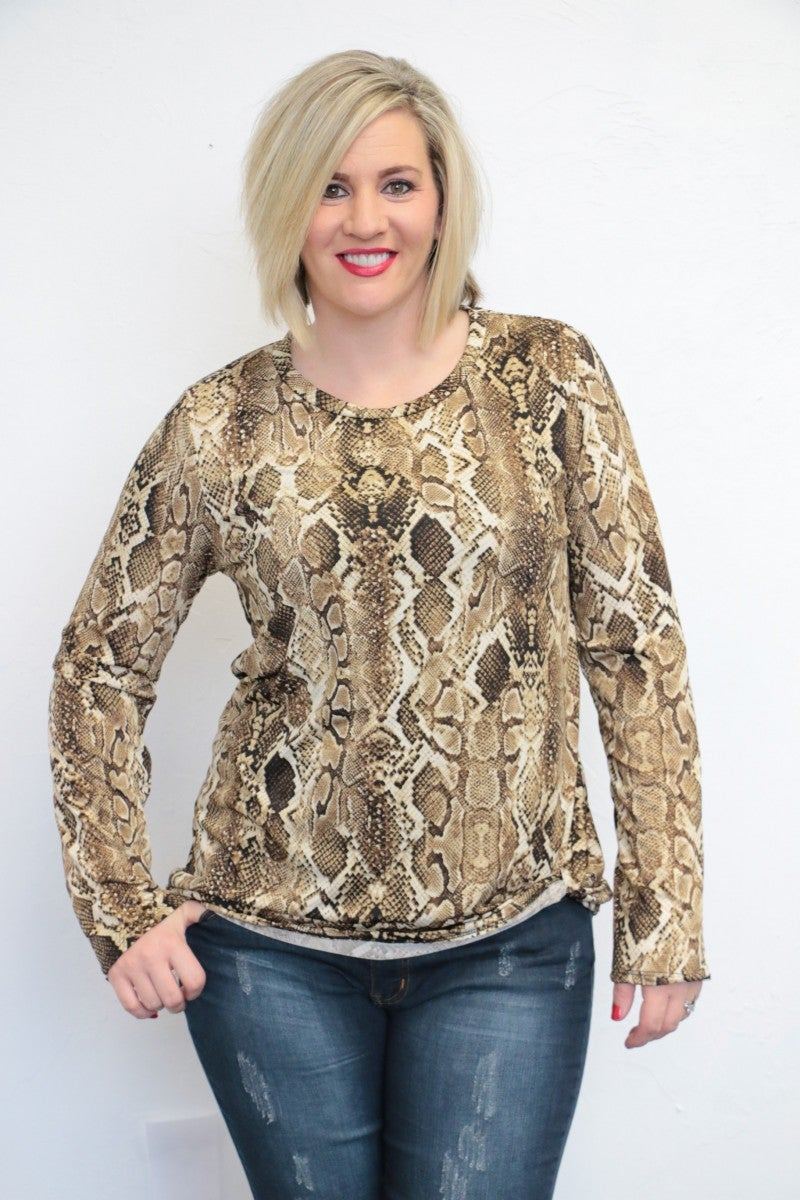 Start Of The Night Snakeskin Top - Sizes 12-20