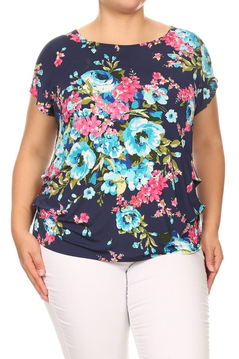 Refreshing Love Floral Top in Navy - Sizes 12-20