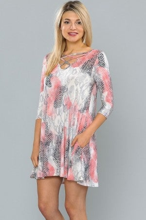 Feeling Starstruck Animal Accented Tunic/Dress in Gray - Sizes 12-20