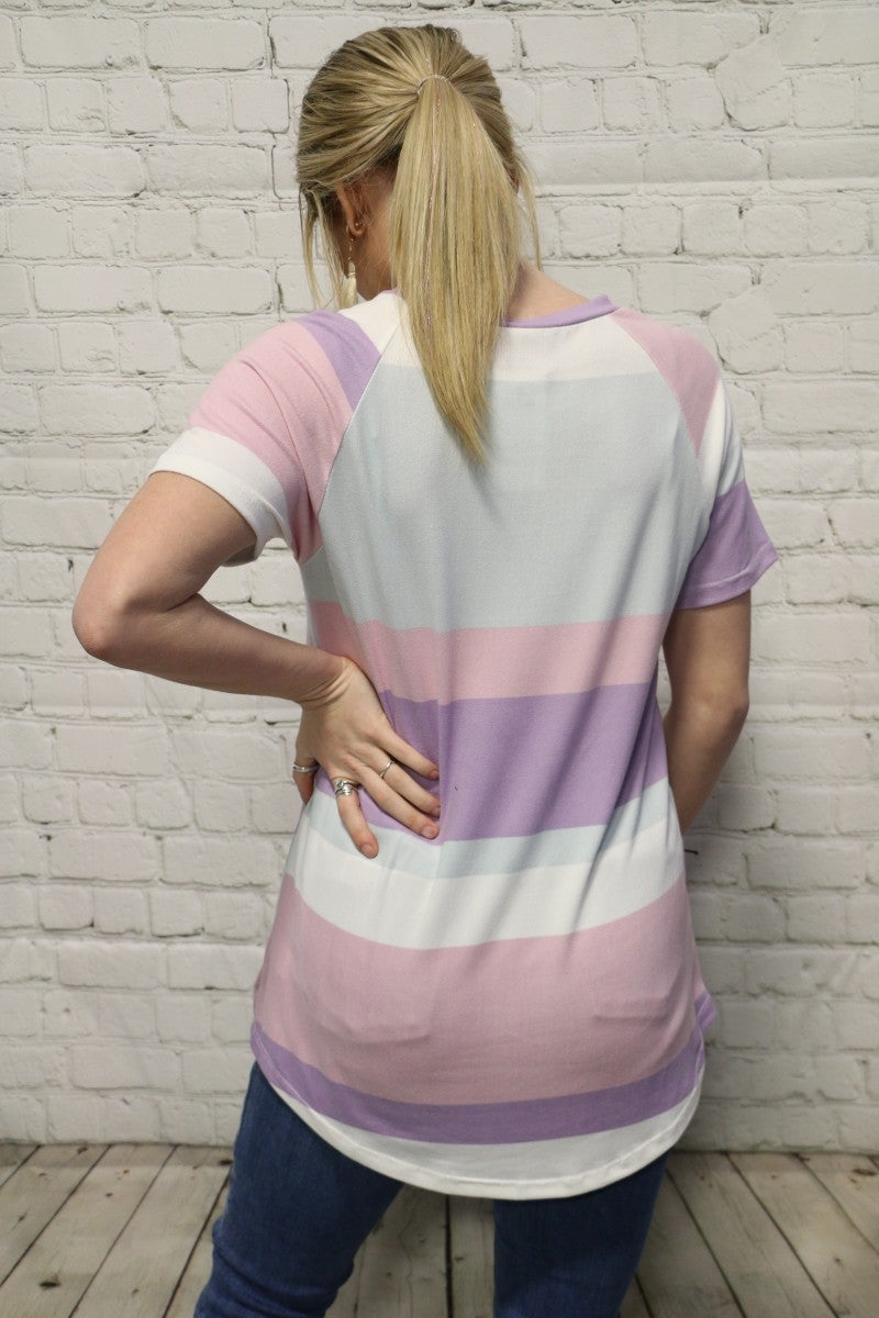 Gotta Let Go Stripe Top With Leopard Detail In Multiple Colors- Sizes 4-12