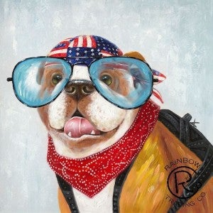 Hobo Spike with American Flag Bandana Canvas Oil Painting
