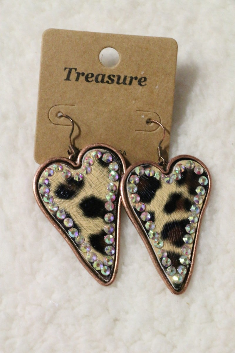 Bless Your Heart Leopard Heart Earrings