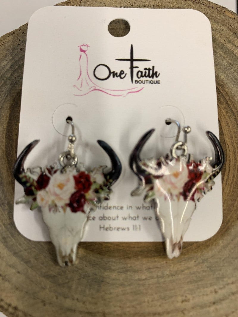 Straight Forward Skull Floral Earrings