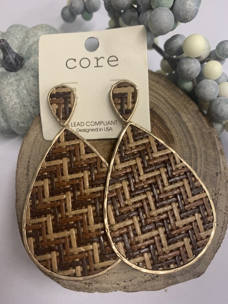 Way To Be Wicker Teardrop Earrings With Gold Trim