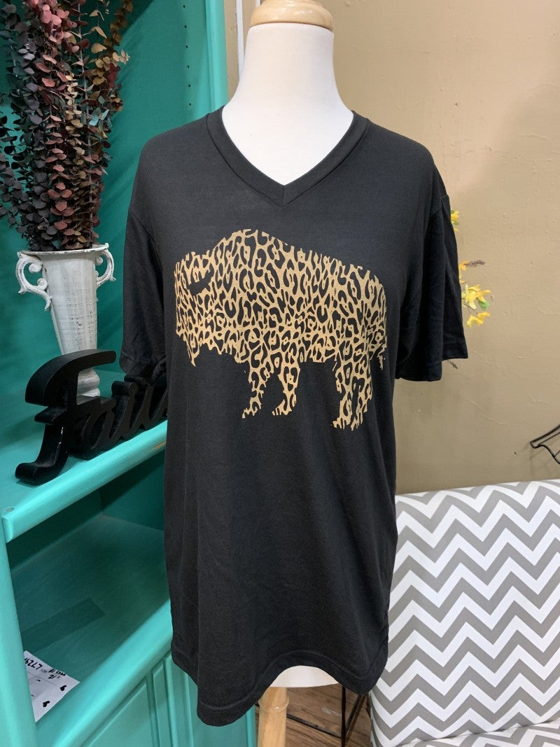 Where The Buffalo Roam Leopard Graphic Tee ~ Sizes 6-18
