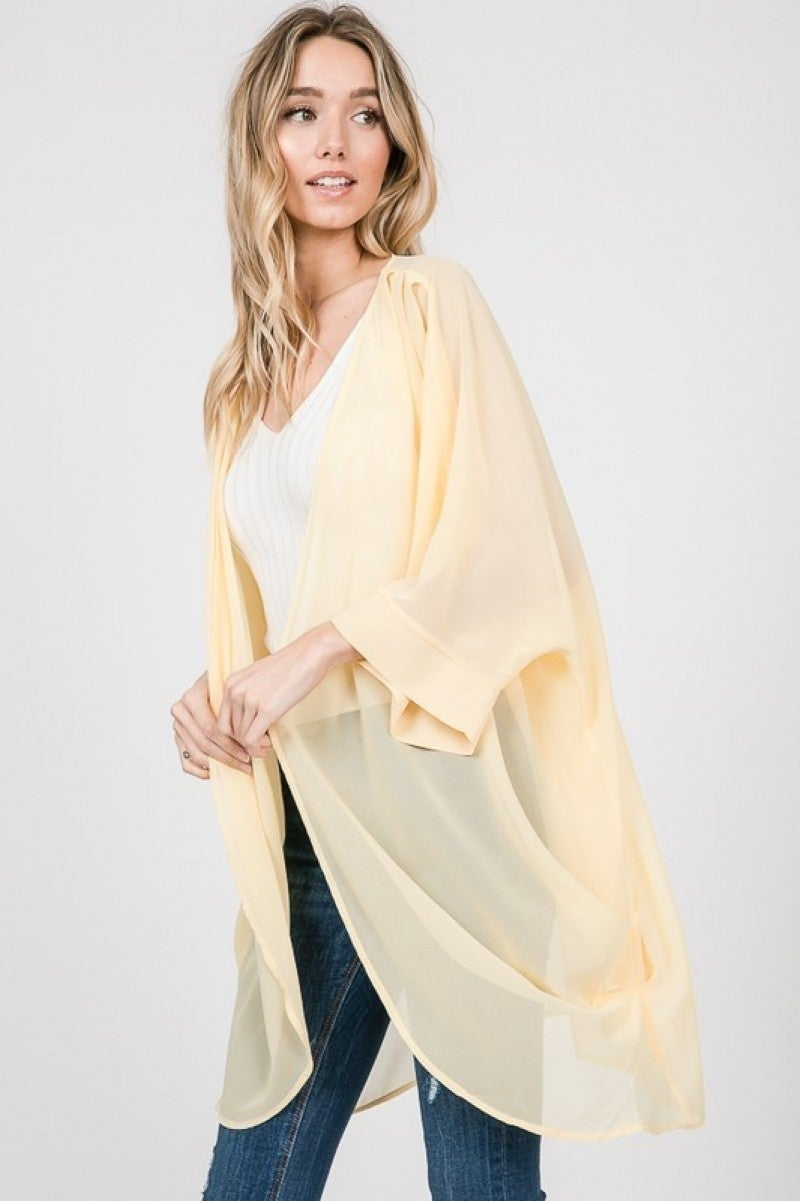 Must Have Solid Chiffon Pleated Kimono in Multiple Colors - Sizes 4-20