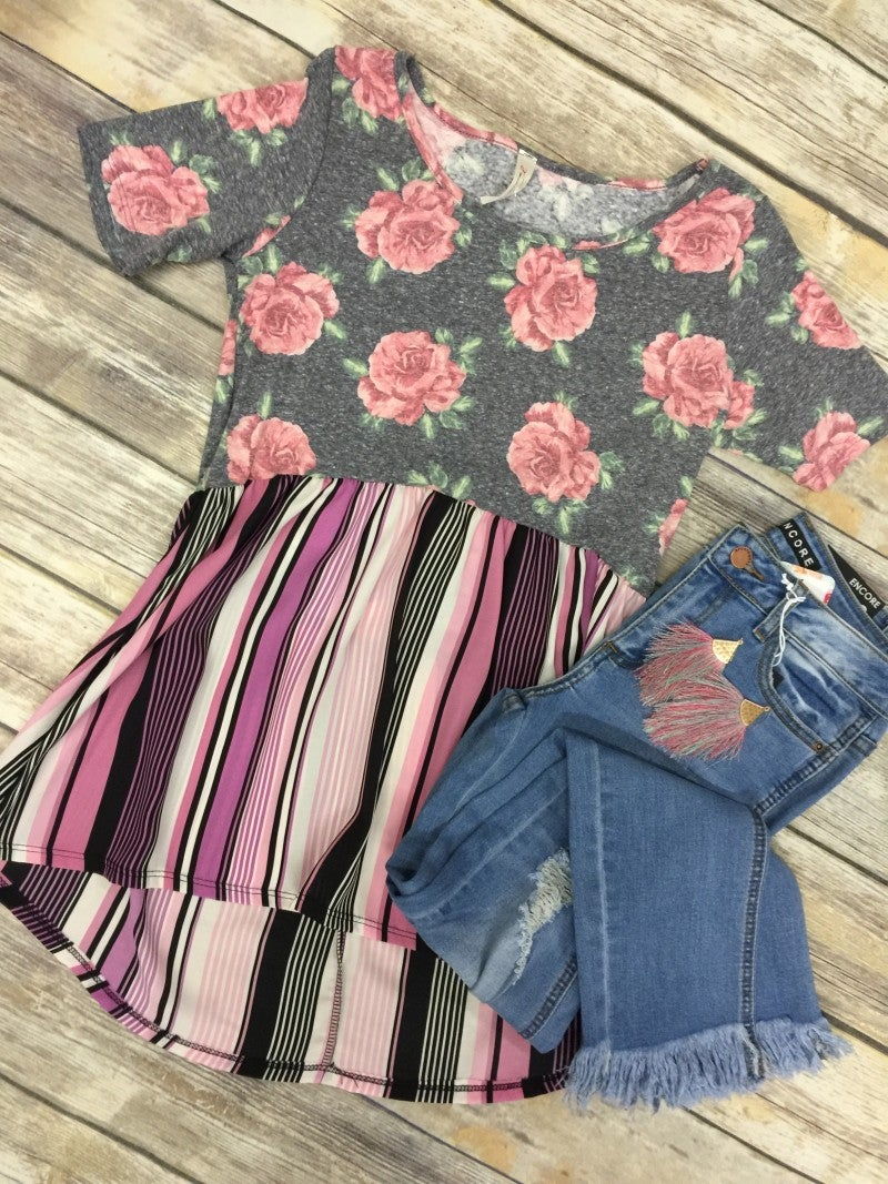 Shine On You Floral & Striped Babydoll Top - Sizes 4-10