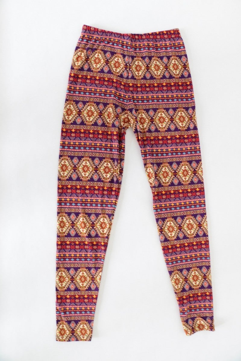 Brought To You By Aztec Print Leggings In Purple - One Size 4-12