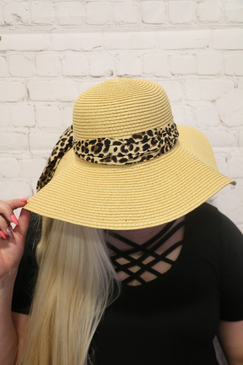 Safari Princess Straw Hat with Leopard Accent Ribbon with SPF 50 Protection