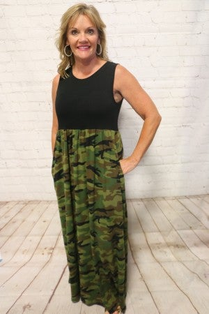 Love Will Find You Camo Sleeveless Maxi Dress - Sizes 4-20