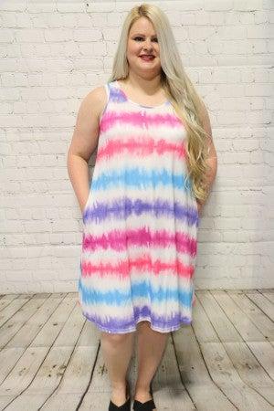 Stay Young Blue, Pink, Purple Tie Dye Tank Dress- Szies 4-20