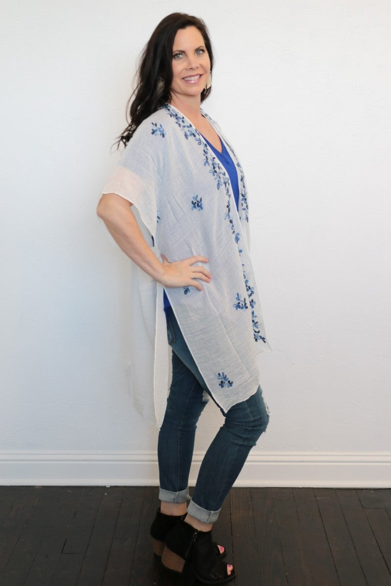 Spend Your Days Wisely White Kimono With Blue Floral Accents - One Size