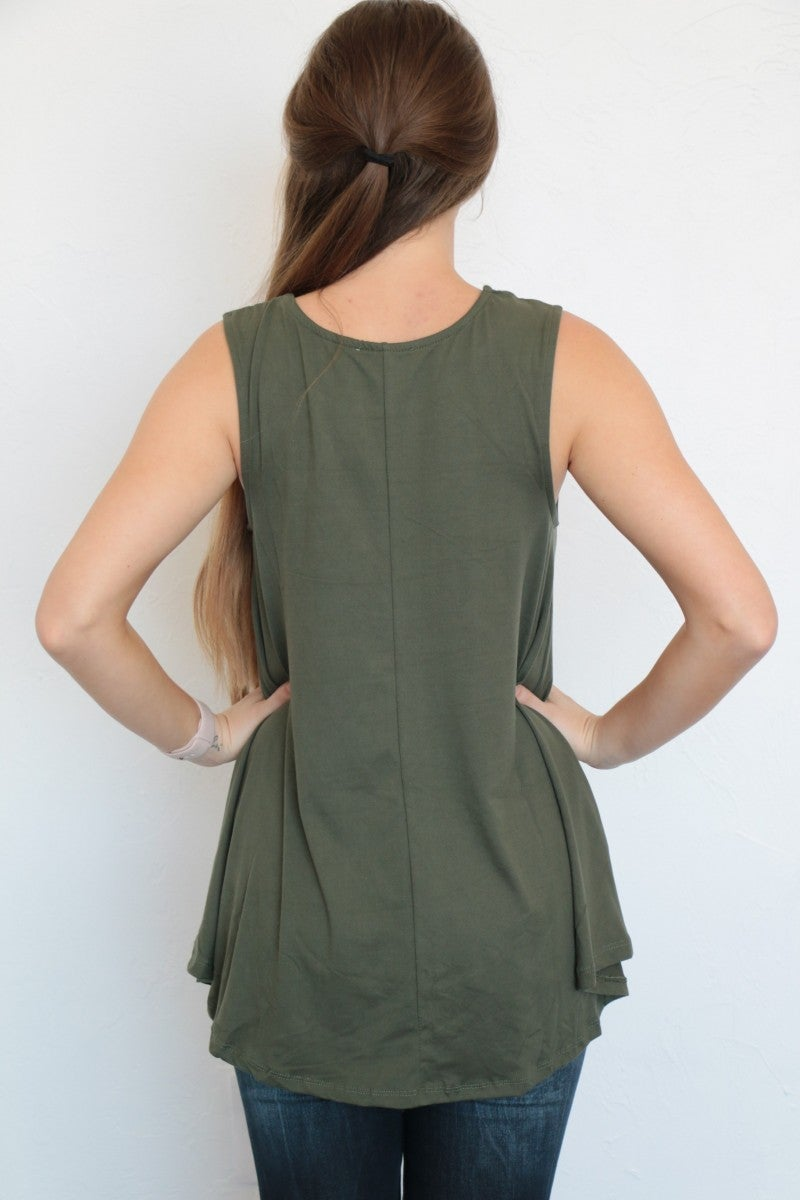 Summer Essential Basic Sleeveless Tunic Top in Olive - Sizes 4-10