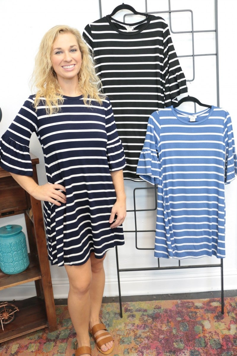 Find The Fun Striped 3/4 Sleeve Dress With Ruffle Sleeve - Multiple Colors - Sizes 4-10