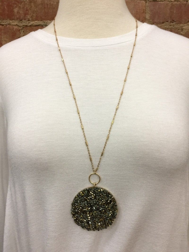 Everlasting Sparkle Large Pendant Necklace - Charcoal