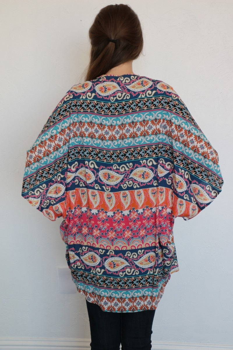 Gone Like The Wind Mix Print Kimono In Pink- Sizes 4-10
