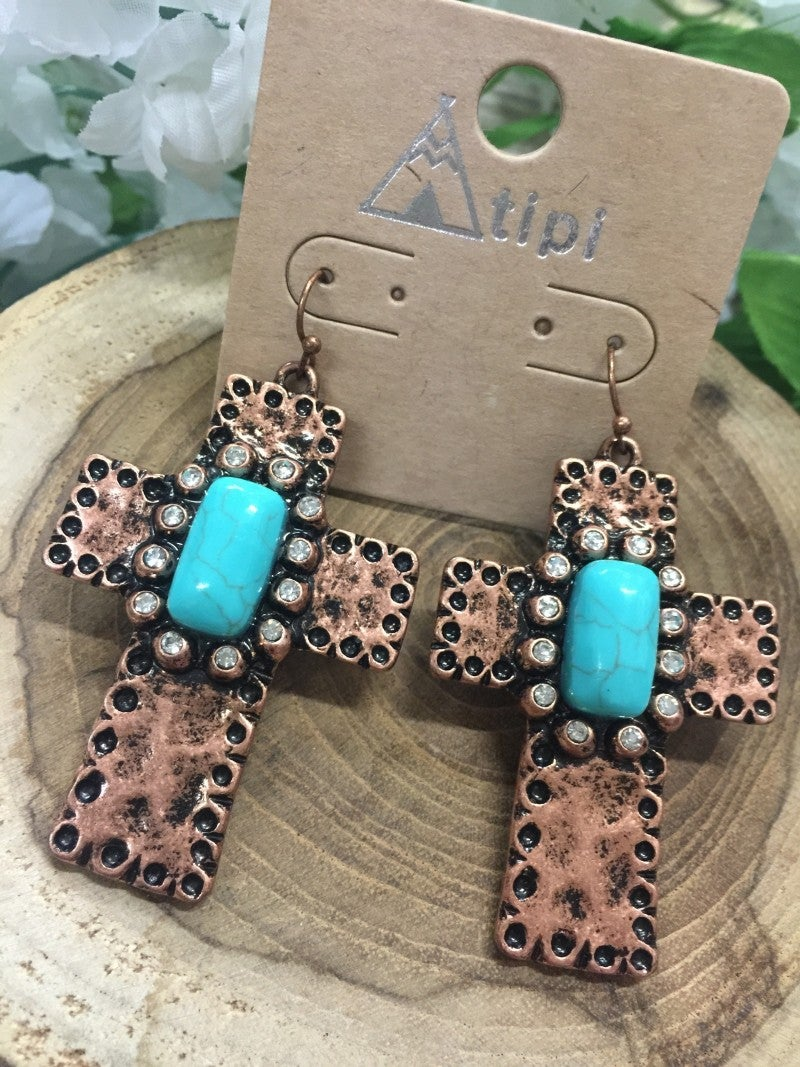 Lead Me To The Cross Bronze Cross Earrings With Turquoise Stone