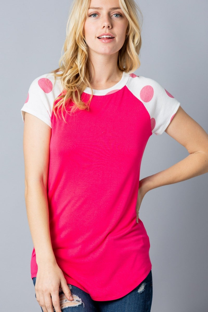 It's My Time Polka Dot Raglan in Multiple Colors - Sizes 12-20
