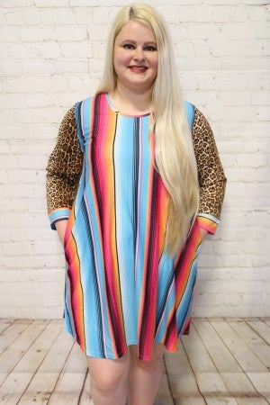Nothing Better Than Leopard and Serape Long Sleeve Dress ~ Size 4-18