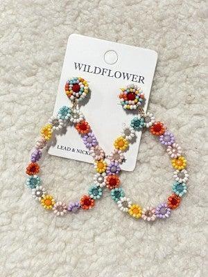 Sweet Dreams Seed Bead Pastel Flower Teardrop Earring