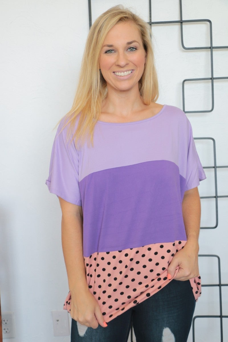 Take A Look Around Purple Polka Dot Color Block Top- Sizes 4-10