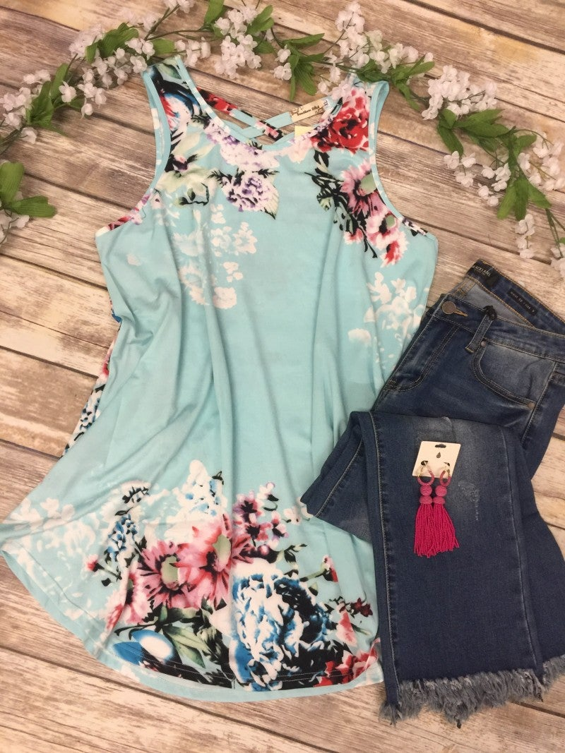 Dare To Dream Floral Sleeveless Top in Sky Blue - Sizes 4-20