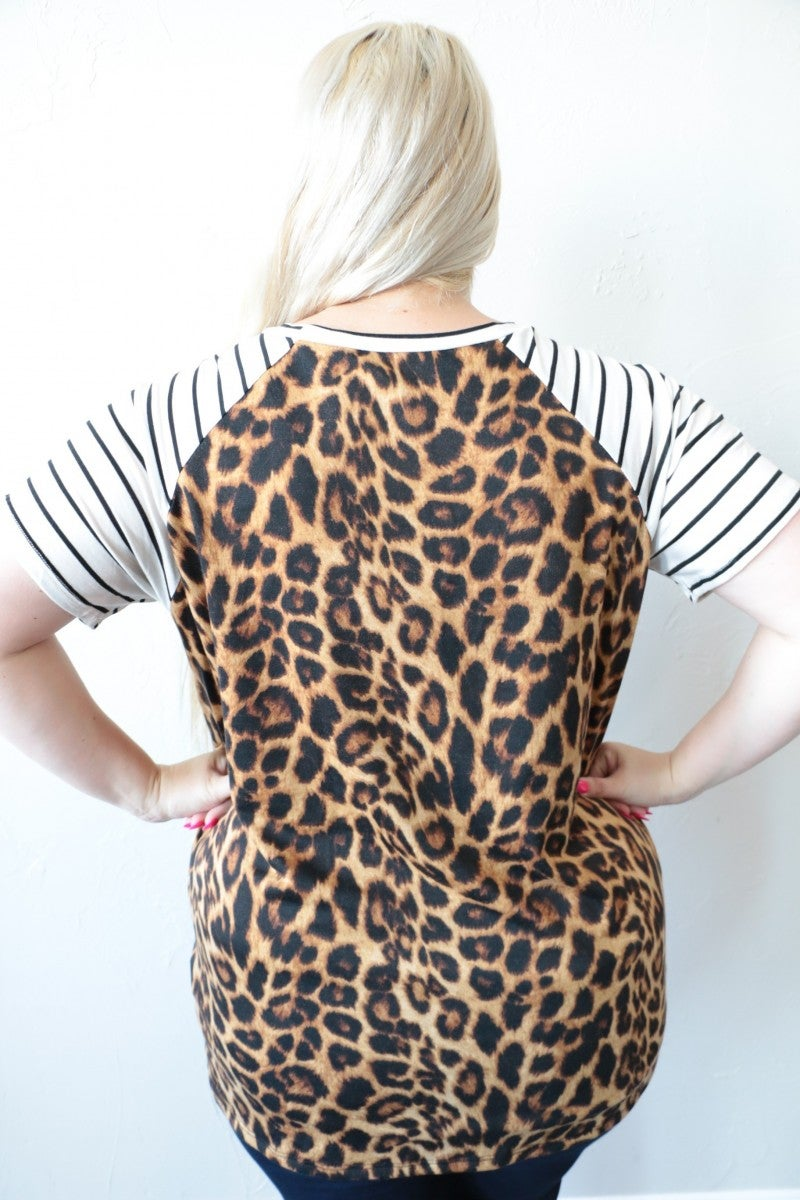 Head In A Mess Leopard & Striped Contrast Top With Knotted Hem - Sizes 4-20- Multiple Colors