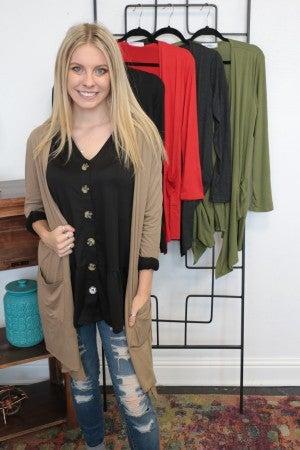 Keep Smiling Draped Cardigan with Pocket Sizes 4-10