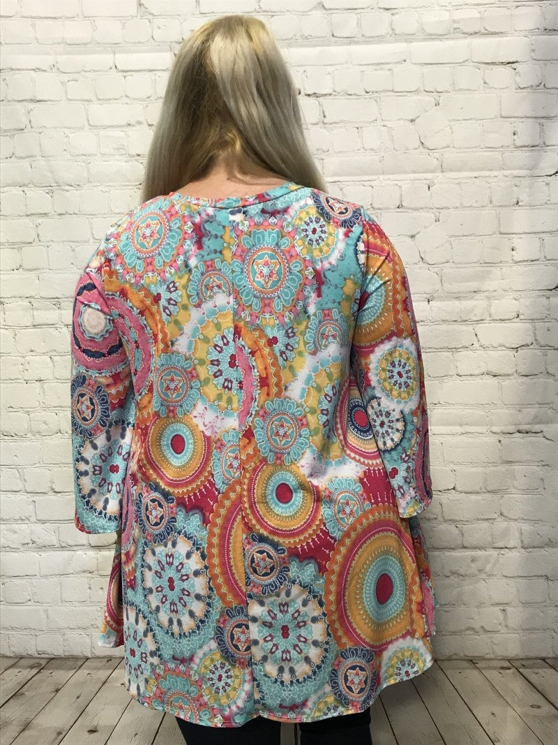 Brighten My Day Circle Print Top - Sizes 12-20