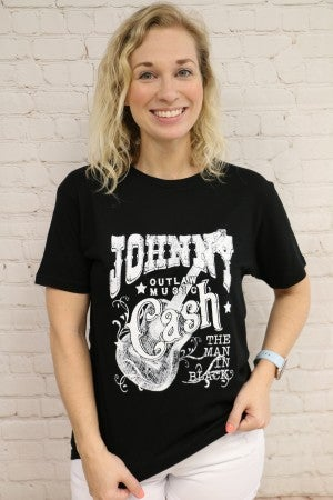 Johnny Cash The Man In Black Graphic Tee in Black ~ Sizes 12-18