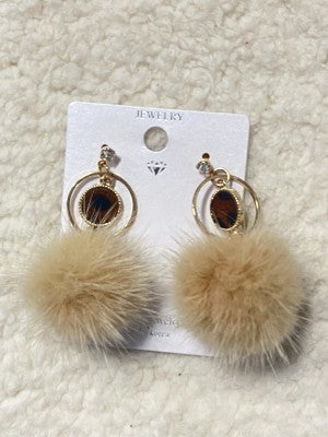 Perfectly Posh Tan Pom Pom Earring With Leopard Pendant