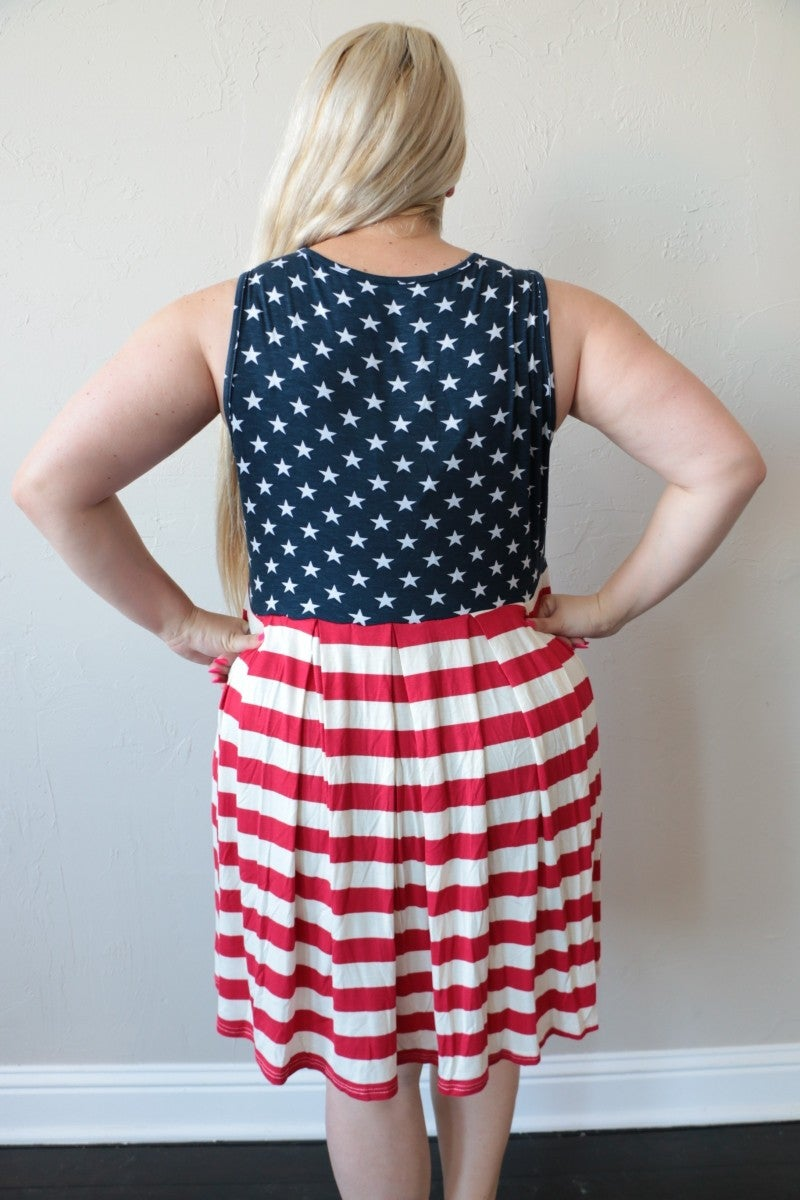 Good Ol' USA Stars & Stripes Sundress - Sizes 4-20