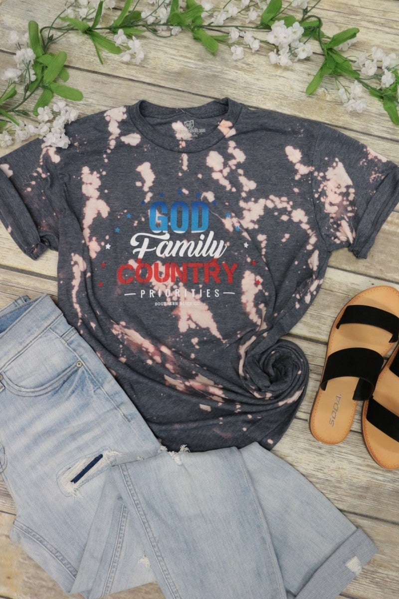 God, Family, Country Bleached Splatter Tee In Heather Navy- Sizes 6-20