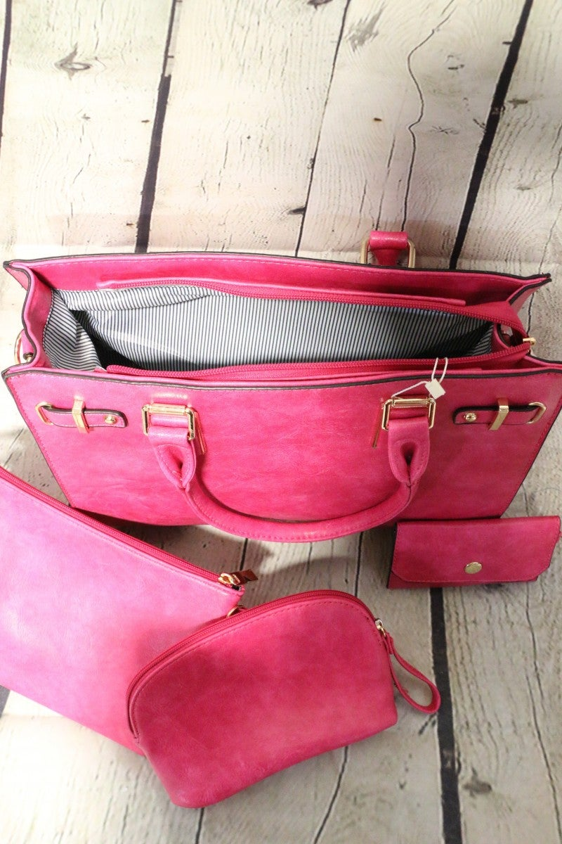 Pretty In Pink Handbag With Clutch And Coin Bag Insert