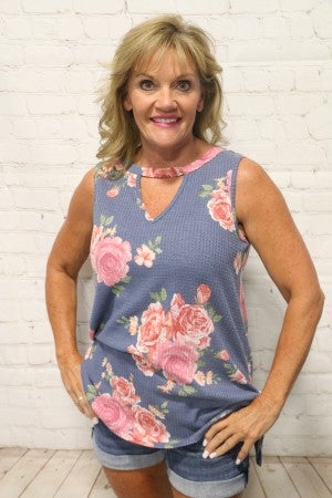 Always Shinning Floral Waffle Knit Sleevless Top with Side Tie - Sizes 4-10