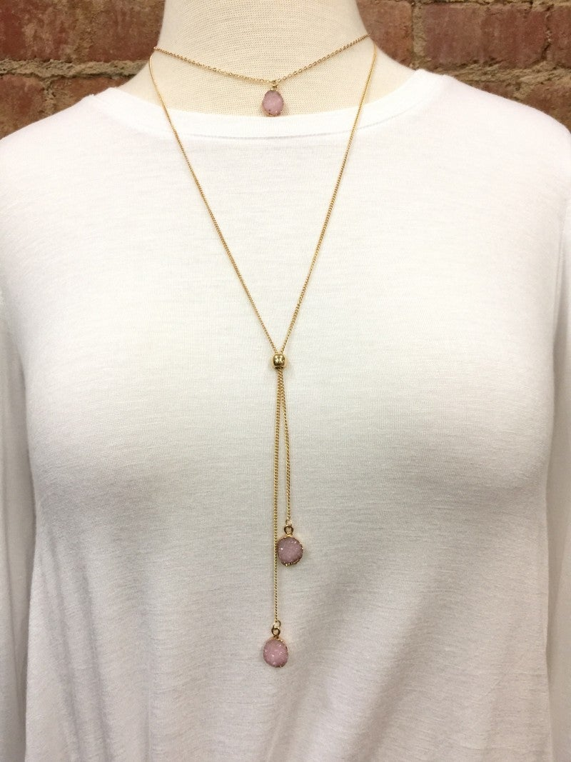 Take it Easy Druzy Stone Necklace in Blush