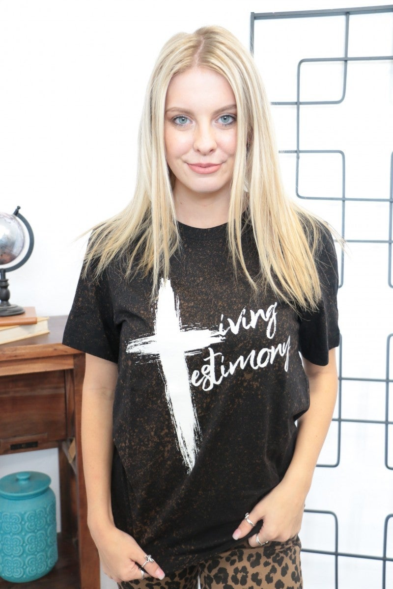 Living Testimony Cross Graphic Tee in Bleach Splattered Black - Sizes 4-20