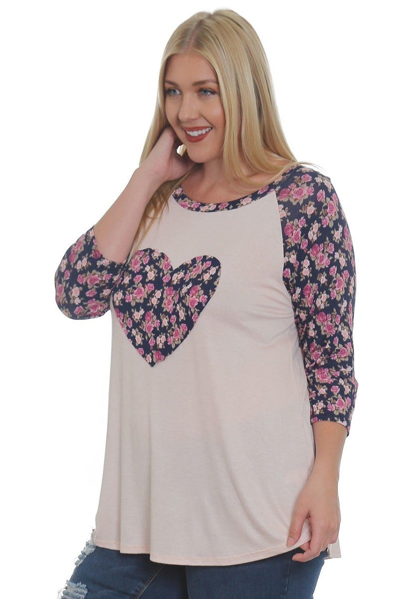 Right By You Floral Heart Raglan In Light Pink- Sizes 12-20